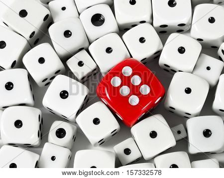 Red and white game dice with six and one dots