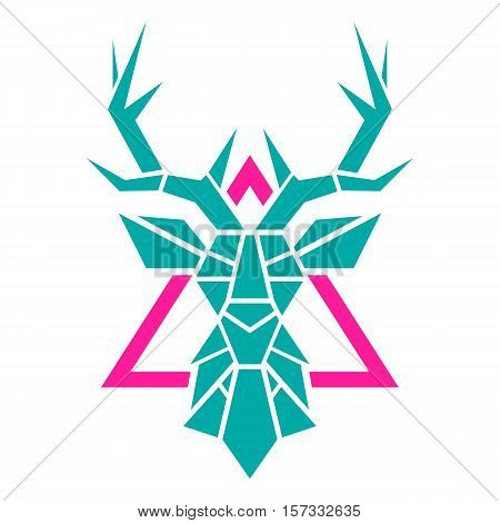 Stylized deer head. Deer head of geometric shapes. Bright print with a deer. vector illustration