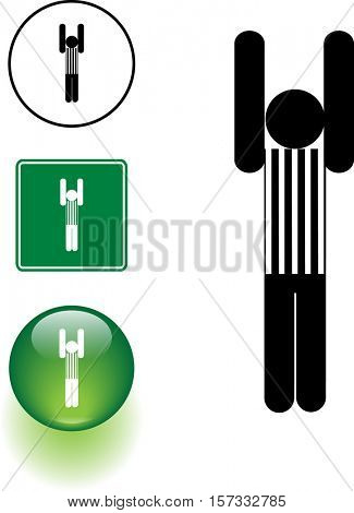 football official calling a touchdown or field goal symbol sign and button