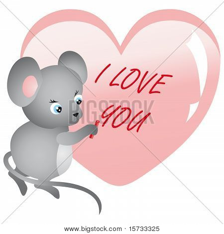 Mouse writing on heart. Vector