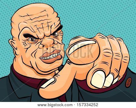 Evil boss pokes his finger. Retro style pop art. Vector illustration