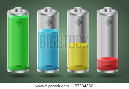 Fully charged and discharged batteries - vector illustration. Isolated objects on green background