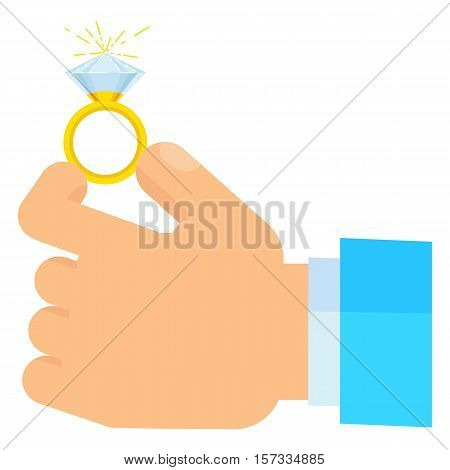 Offer of marriage. marriage proposal. Wedding ring with diamond in hand groom men. Concept of wedding engagement love. Flat illustration of wedding rings on a white background.