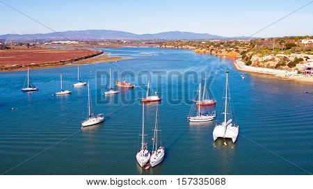 Aerial from boats in the harbor from Alvor in the Algarve Portugal