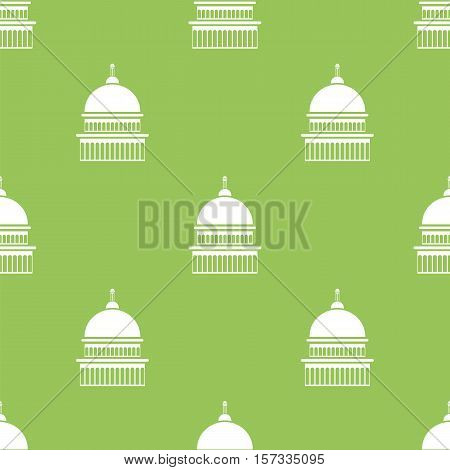 Capitol Icon Seamless Pattern Isolated on Green Background