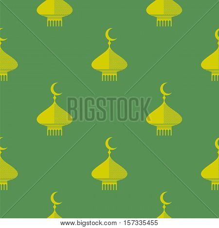 Yellow Dome Icon Seamless Pattern Isolated on Green Background