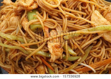 Chinese Food. Spaghetti With Chicken And Vegetables