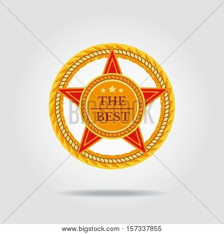 Star icon. The best badge isolated concept. Freehand cartoon style logo template. Round wreath shape frame banner background. Design idea for retail advertisement symbol. Vector illustration