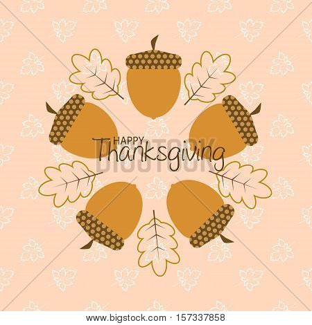 thanksgiving greeting card with autumn leaves and cornucopia in pink background
