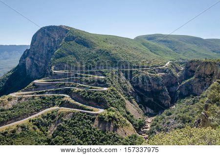 The impressive Serra da Leba pass in Angola. The road gains altitude quickly over several serpentines.