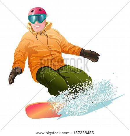 Man snowboarding. Winter mountains. Sport. Speed. Adrenalin.