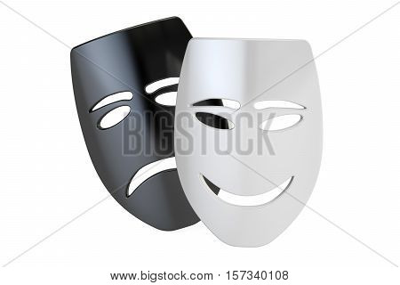 Tragicomic Theater Masks. Sad and Smile concept 3D rendering isolated on white background