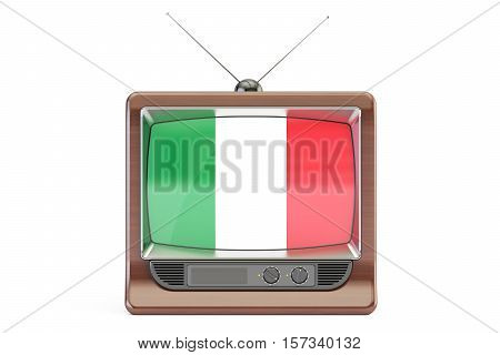 TV set with flag of Italy. Television concept 3D rendering