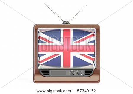 TV set with flag of United Kingdom. British Television concept 3D rendering