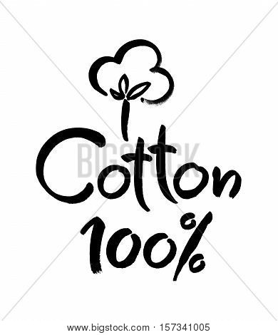 Natural organic cotton vector label, sticker, logo. Isolated icon on white background. Modern brush calligraphy,