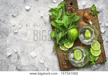 Ingredients For Making Mojito.top View.