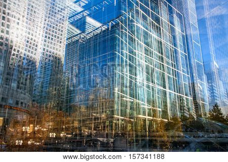 Multiple exposure effect image. Abstract background with modern office  buildings of London. Business and modern life concept.