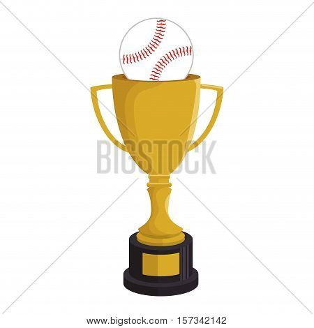 cartoon trophy champion baseball icon vector illustration eps 10
