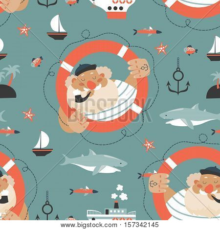 Seamless vector pattern with old sailor, lifebuoy, fish, vessel and anchor