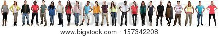 Group of young people smiling happy multicultural multi ethnic full body portrait standing in a row isolated on a white background