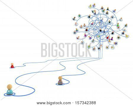 Crowd of small symbolic 3d figures linked by lines tangled chaotic network isolated