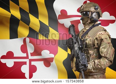 Soldier In Helmet Holding Machine Gun With Usa State Flag On Background Series - Maryland