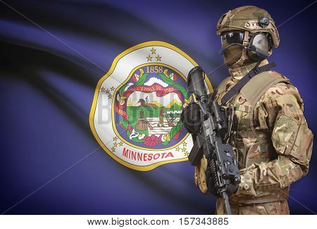 Soldier In Helmet Holding Machine Gun With Usa State Flag On Background Series - Minnesota