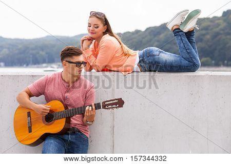 Charmed Girl Enjoying Music.