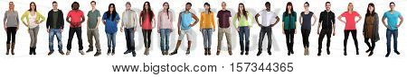 Large Group Of Young People Smiling Happy Multicultural Multi Ethnic Full Body Portrait Standing In