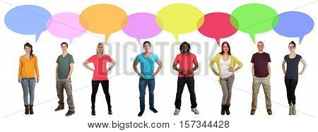 Smiling multi ethnic large group of young people talking speaking saying speech bubble copyspace