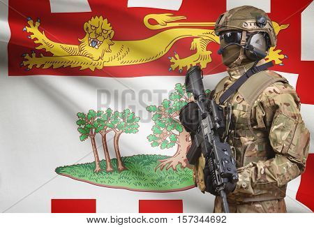 Soldier In Helmet Holding Machine Gun With Canadian Province Flag On Background Series - Prince Edwa