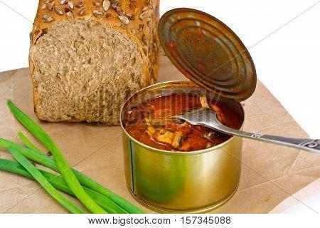 Canned Fish Sprat in Tomato Sauce Studio Photo