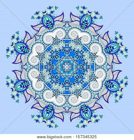 mandala, blue circle decorative spiritual indian symbol of lotus flower, round ornament pattern, vector illustration