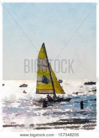 A digital watercolor painting of a sailing boat at sea with its sails up on an overcast day. Space for text. Portrait.
