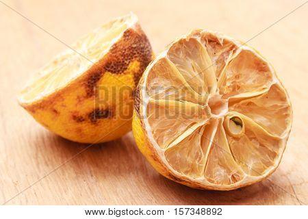 Closeup Old Rotten Lemon