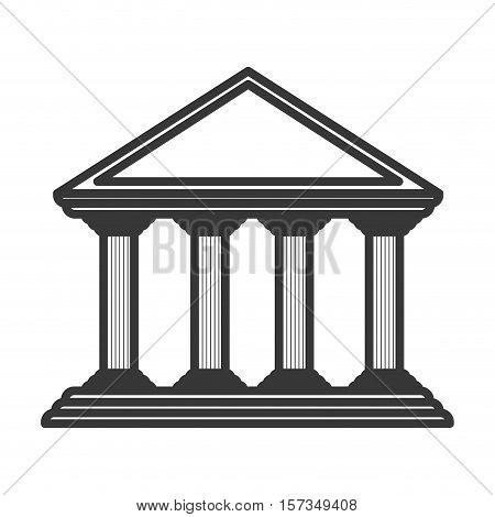 monochrome color of greek temple parthenon vector illustration