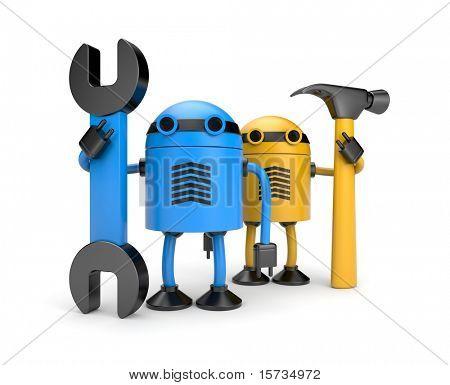 Roboter Arbeitnehmer. neue Technologie übertragener ausdruck