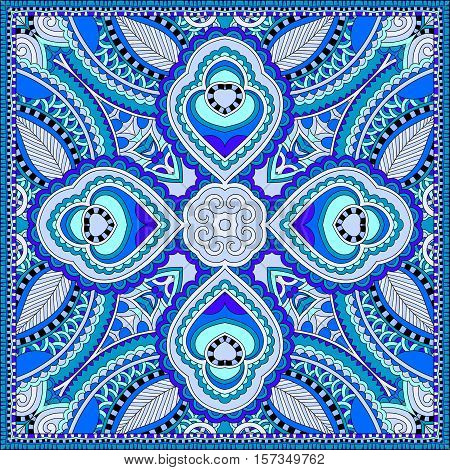 blue silk neck scarf or kerchief square pattern design in ukrainian style for print on fabric , vintage vector illustration