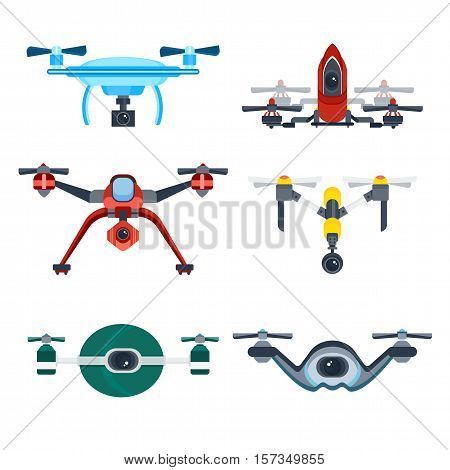 Drone with camera cartoon icons. Various modern flying copters with action cameras vector illustrations isolated on white background. Drone icon. Vector drone sign. Drone logo.