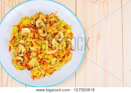 Braised Cabbage with Carrots and Mushrooms Studio Photo