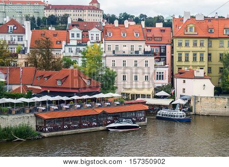 Houses And Restaurants On The Right Bank Of The River Vltava