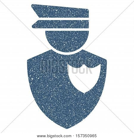 Policeman grainy textured icon for overlay watermark stamps. Flat symbol with dust texture. Dotted vector blue ink rubber seal stamp with grunge design on a white background.