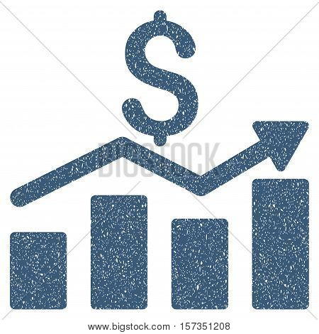 Sales Chart grainy textured icon for overlay watermark stamps. Flat symbol with scratched texture. Dotted vector blue ink rubber seal stamp with grunge design on a white background.