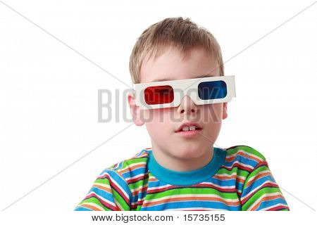 little boy in striped shirt and anaglyph glasses, red and blue
