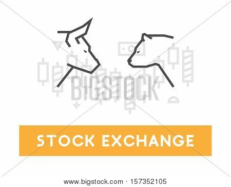Vector symbol for stock market and stock exchange. Modern bull and bear icon for Wall Street. Logo for online trading.