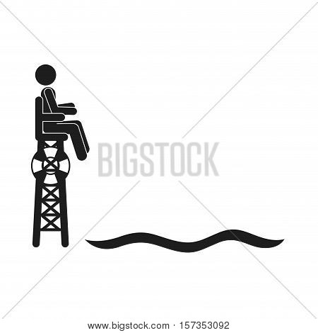 monochrome silhouette male lifeguard Watchtower beside the water vector illustration
