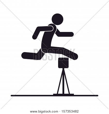 monochrome silhouette with athlete jumping hurdles vector illustration poster