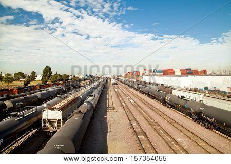 WILMINGTON CALIFORNIA - NOVEMBER 19 2016: BNSF Railway rail yard on Pacific Coast Highway. On the bridge just east of Banning Park.
