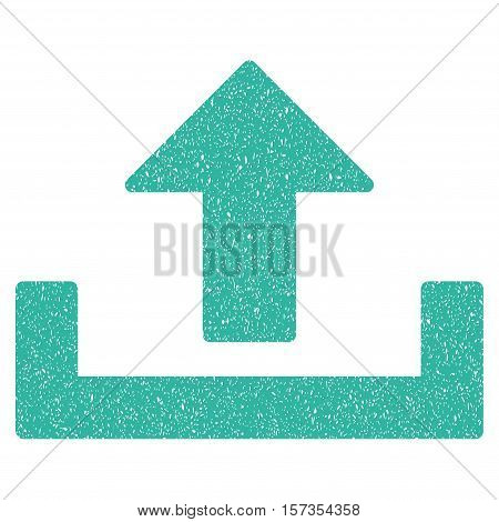 Upload grainy textured icon for overlay watermark stamps. Flat symbol with unclean texture. Dotted vector cyan ink rubber seal stamp with grunge design on a white background.