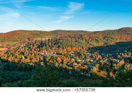 view of the town of Woodstock Vermont